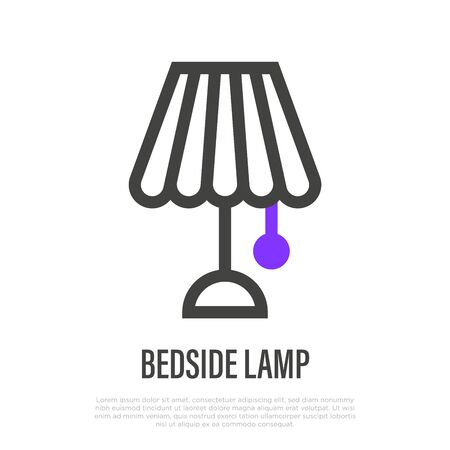 Bedside lamp thin line icon. Element of interior. Vector illustration. Banque d'images - 147858902