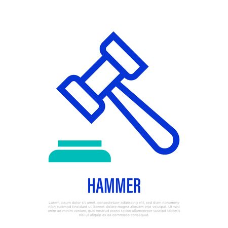 Judge's hammer thin line icon. Symbol of judgement. Vector illustration of gavel.