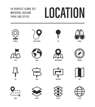 Location and navigation set. Pointer, pin, folded map, compass, route, flag, direction, search, traffic light, globe. Vector illustration.