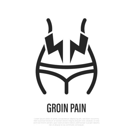 Groin pain thin line icon. Symptom of gynecological problem. Vector illustration.