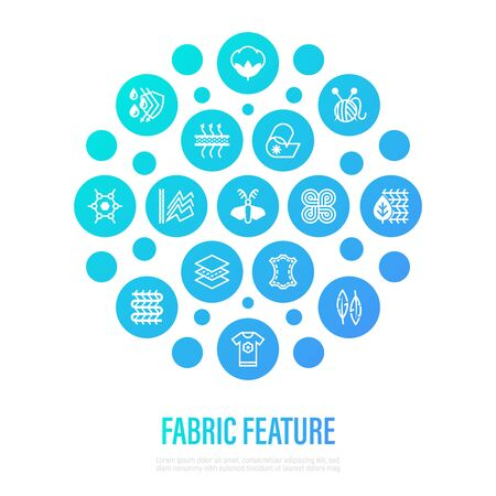 Fabric feature concept. Thin line icons in circle shape: wool, synthetic, silk, antistatic, waterproof, leather, feather filler, eco-friendly, breatheable material. Vector illustration.