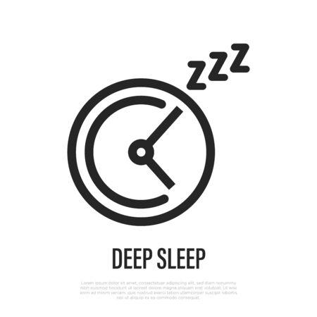 Deep sleep phase on clock thin line icon. Vector illustration.