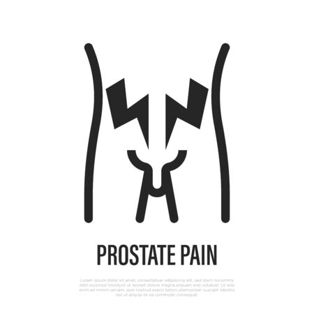 Prostate pain thin line icon. Vector illustration of erectile disfunction. Vector Illustration