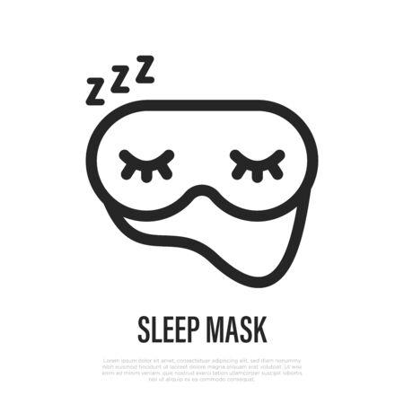 Sleep mask thin line icon. Night accessory for deep sleep. Vector illustration.