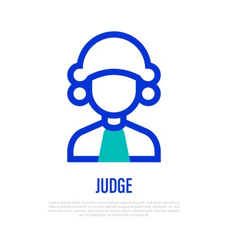 Judge in wig thin line icon. Vector illustration of human occupation.