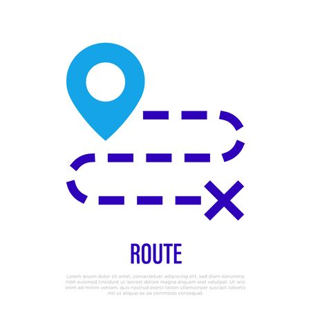 Route, distance or direction thin line icon. Vector illustration.