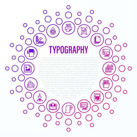 Typography, polygraphy concept in circle shape. Thin line icons: printing, scanning, flexography, offset, roll paper, color palette, lamination, heat transfer printing, embossing. Vector illustration. Vetores