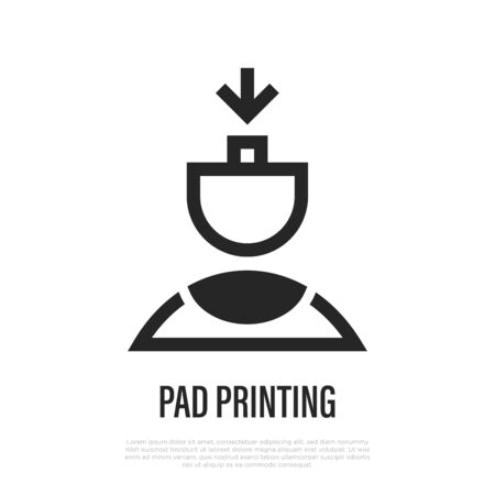 Pad printing thin line icon. Vector illustration of tampography.