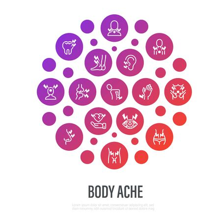 Body ache concept in circle shape. Thin line icons: toothache, heart attack, headache, joint pain, arthritis, osteoporosis, stomachache, menstrual pain. Vector illustration. Vector Illustration