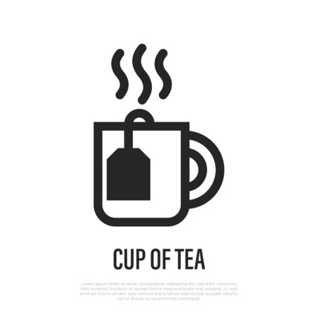 Cup of hot tea with tea bag thin line icon. Vector illustration. Иллюстрация