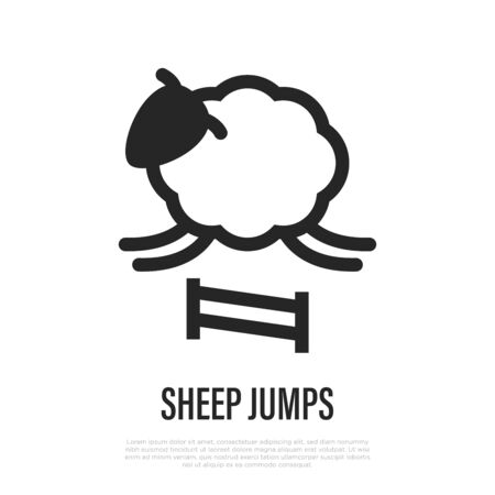 Sheep jumps thin line icon. Counting of sheeps to fall asleep for insomnia. Vector illustration. Çizim