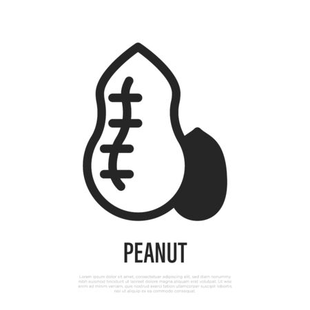 Peanut thin line icon. Symbol for packaging. Vector illustration of allergen.