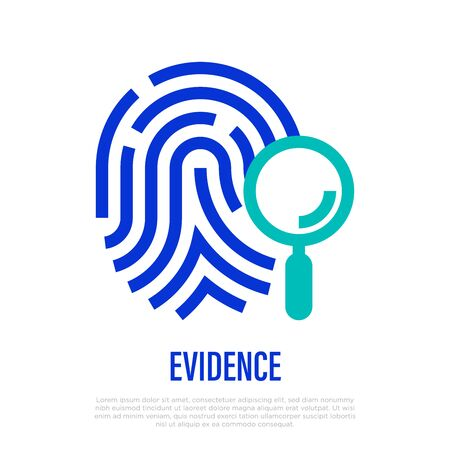 Evidence thin line icon. Magnifier on fingerprint. Vector illustration.