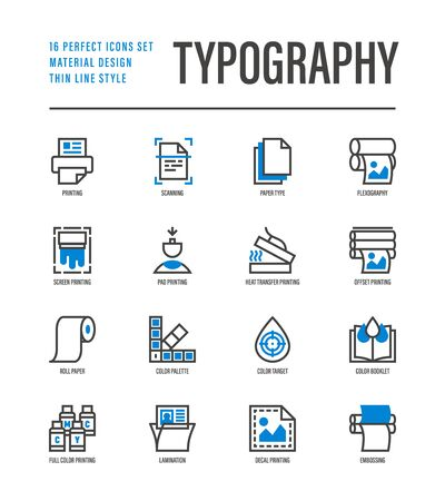 Typography, polygraphy thin line icons set. Printing, scanning, flexography, offset, roll paper, color palette, lamination, heat transfer printing, embossing. Vector illustration. 일러스트