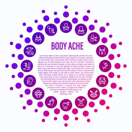 Body ache concept in circle shape. Thin line icons: toothache, heart attack, headache, joint pain, arthritis, osteoporosis, stomachache, menstrual pain. Vector illustration.