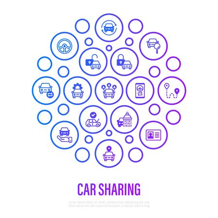 Car sharing concept in circle shape. Mobile app on smartphone, driver license, toute, key, car inspection, route, open and close car, sync thin line icons. Vector illustration.