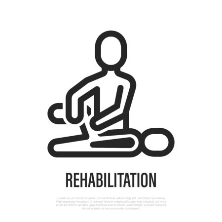 Rehabilitation, physiotherapy thin line icon. Exercises with therapist after injury. Vector illustration.