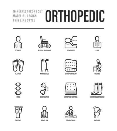 Orthopedic thin line icons set. Flat foot, scoliosis, compression stockings, mattress, pillow, electric wheelchair, walking stick, bone fracture. Vector illustration. Ilustracja