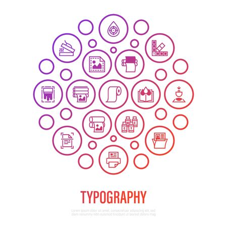 Typography, polygraphy concept in circle shape. Thin line icons: printing, scanning, flexography, offset, roll paper, color palette, lamination, heat transfer printing, embossing. Vector illustration.