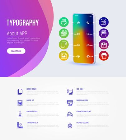 Typography, polygraphy infographics with thin line icons around smartphone and place for text. Printing, scanning, flexography, offset, roll paper, color palette, lamination, heat transfer printing, embossing. Vector illustration.