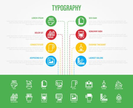 Typography, polygraphy infographics with thin line icons in circle withcopy space. Data visualization. Printing, scanning, flexography, offset, roll paper, color palette. Vector illustration.