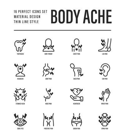 Body ache thin line icons set. Toothache, heart attack, headache, joint pain, arthritis, osteoporosis, stomachache, menstrual pain. Vector illustration.