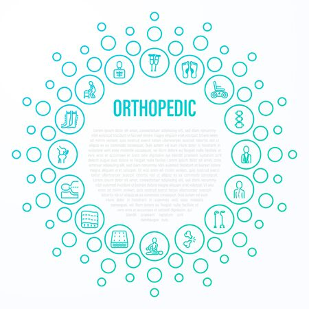 Orthopedic concept. Thin line icons in circle shape: flat foot, scoliosis, compression stockings, mattress, pillow, electric wheelchair, walking stick, bone fracture. Vector illustration.
