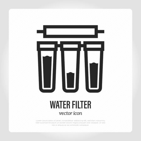 Water filter with cartridges thin line icon. System of water purification. Vector illustration.