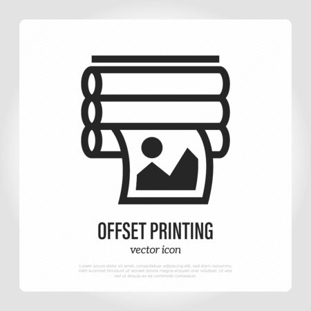 Offset printing thin line icon. Typography equipment. Vector illustration. Illustration