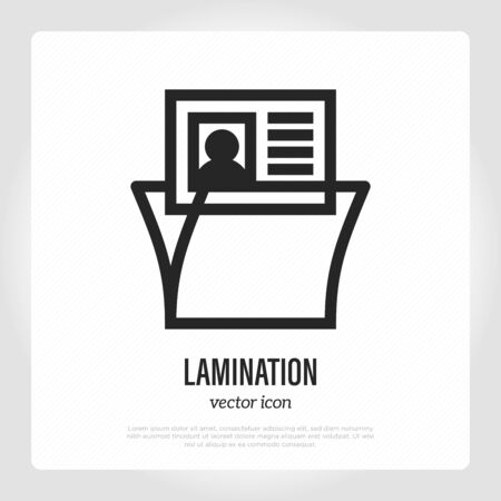 Lamination thin line icon. Typography equipment. Vector illustration.