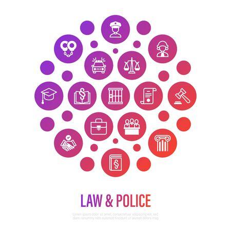 Law and police concept in circle shape. Policeman, judge, prosecutor, lawyer, court, prison, fingerprint, conviction, evidence flat line icons. Vector illustration, template for mailing. Vektoros illusztráció