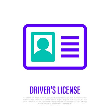 Driver's license, id card with photo. Thin line icon of personal document. Vector illustration. Vettoriali