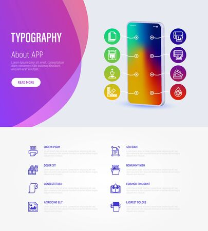 Typography, polygraphy infographics with thin line icons around smartphone and place for text. Printing, scanning, flexography, offset, roll paper, color palette, lamination. Vector illustration. Ilustração