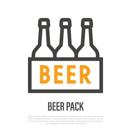 Pack of beer bottles. Thin line icon. Vector illustration.