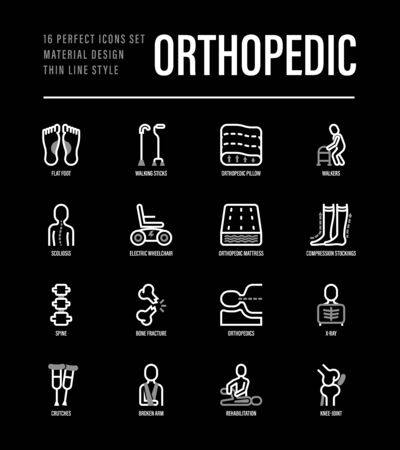Orthopedic thin line icons set. Flat foot, scoliosis, compression stockings, mattress, pillow, electric wheelchair, walking stick, bone fracture. Vector illustration for black theme. Zdjęcie Seryjne - 148178231