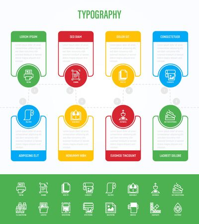Typography, polygraphy infographics with thin line icons in circles with copy space near. Printing, scanning, flexography, offset, roll paper, color palette, lamination, embossing. Vector illustration