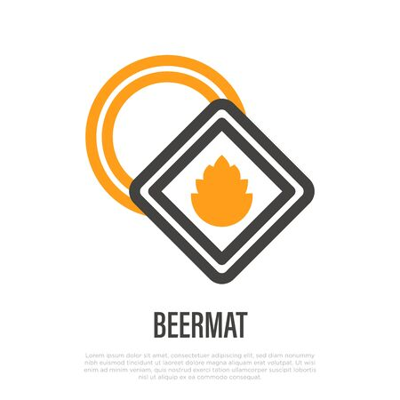Beermat thin line icon. Beer promotional product sign. Vector illustration.