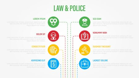Law and police infographics with thin line icons in circles. Data visualization. Policeman, judge, prosecutor, lawyer, court, prison, fingerprint, evidence flat line icons. Vector illustration.
