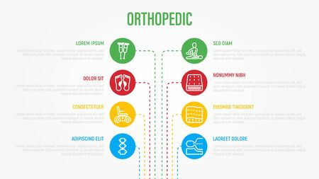 Orthopedic infographics in circles with thin line icons and place for text near. Medical data visualization. Flat foot, scoliosis, mattress, electric wheelchair, walking stick. Vector illustration.