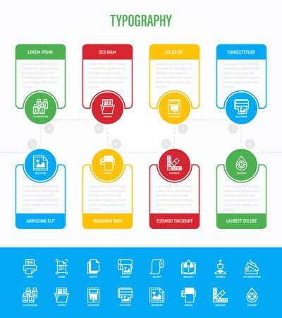 Typography, polygraphy infographics with thin line icons in circles with copy space near. Printing, scanning, flexography, offset, roll paper, heat transfer printing, embossing. Vector illustration.