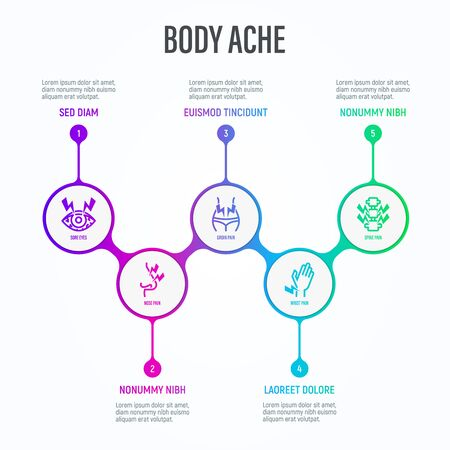 Body ache infographics in circles with thin line icons and place for text near. Medical data visualization. Conjunctivitis, arthritis, osteoporosis, stomachache, menstrual pain. Vector illustration.