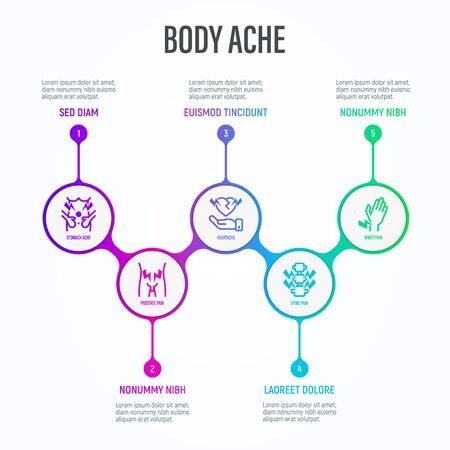 Body ache infographics in circles with thin line icons and place for text near. Medical data visualization. Prostate pain, arthritis, osteoporosis, stomachache, menstrual pain. Vector illustration.