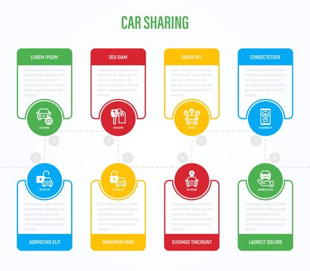Car sharing infographics with thin line icons in circles. Business data visualization. Driver license, key, car inspection, open and close car, sync. Vector illustration for presentation.