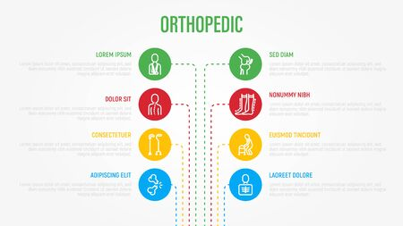 Orthopedic infographics with thin line icons in circles and copy space near. Medical data visualization. Scoliosis, compression stockings, walking stick, bone fracture. Vector illustration. Ilustracja
