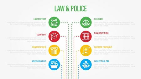 Law and police infographics with thin line icons in circles. Data visualization. Court, prison, fingerprint, conviction, evidence flat line icons. Vector illustration.