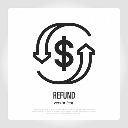 Automatic refund thin line icon. Dollar sign in arrows. Vector illustration.