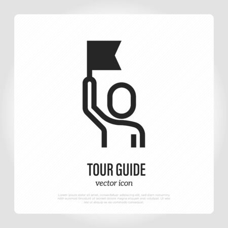 Tour guide thin line icon. Man with flag. Service for tourists. Vector illustration. Ilustração