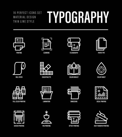 Typography, polygraphy thin line icons set. Printing, scanning, flexography, offset, roll paper, color palette, lamination, heat transfer printing, embossing. Vector illustration for black theme. Ilustração