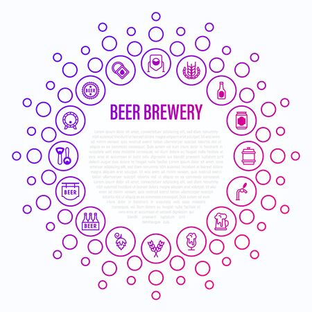 Beer brewery concept in circle shape with thin line icons: manufacturing, craft, tap, mug, tulip pint, wheat, hop, bottle opener, barrel. Vector illustration for bar or restaurant.