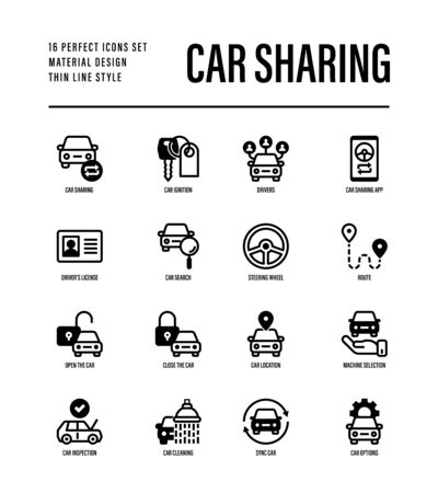 Car sharing set. Mobile app on smartphone, driver license, route, key, car inspection, route, open and close car, sync thin line icons. Vector illustration. 向量圖像